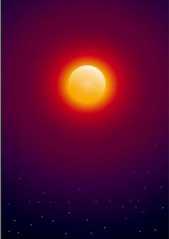 Słońce z gwiazdami w kosmosie. tło wektor