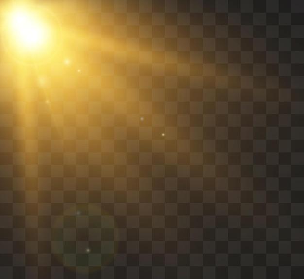 Słońce z promieniami i blaskiem ilustracji