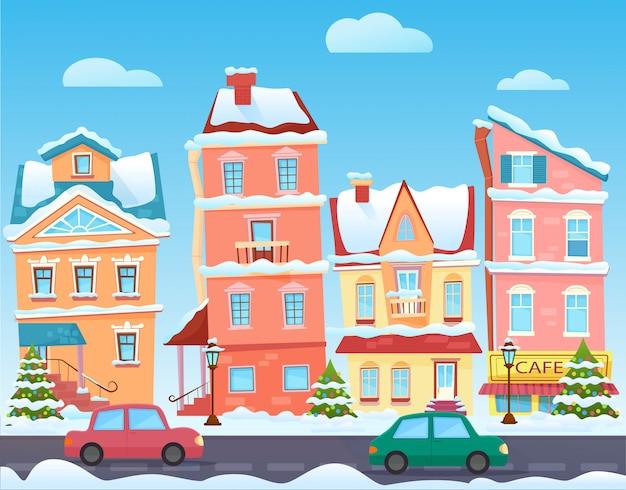 Słoneczna kreskówka ulica miasta w zimie. budynki z kreskówek