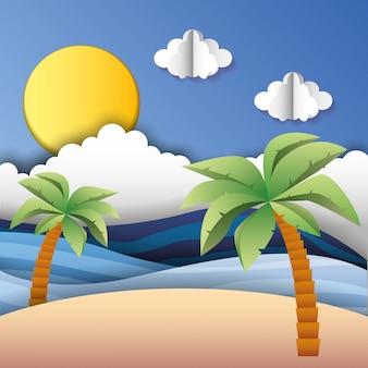Słoneczna plaża z chmurami