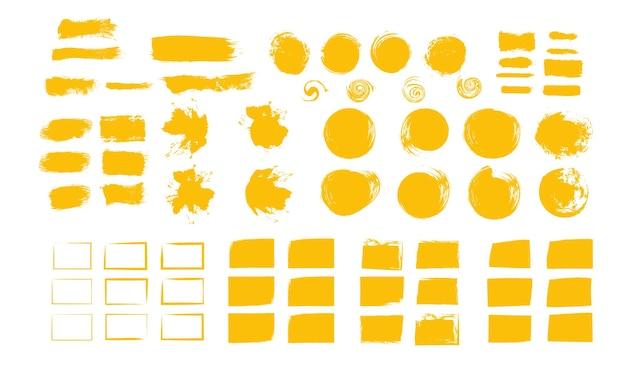 Słoneczne żółte pędzle tekstury malowania projekt pociągnięcia graffiti żółty rozmaz pędzle