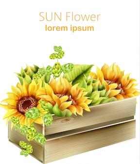 Słonecznik i zielony karczoch w drewnianym pudełku. wektory wiosny akwarela