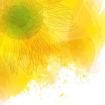 Słonecznik. jasny słoneczny żółty kwiat na tle akwarela. projekt na zaproszenia, urodziny, z miłością, zapisz datę. styl wiosny. ilustracja wektorowa.