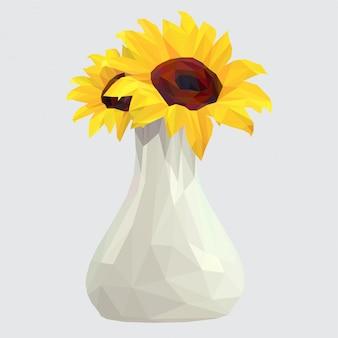 Słonecznik w wazonie lowpoly art