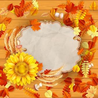 Słonecznik z jesiennych liści.