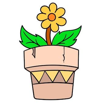 Słoneczniki kwitną wiosną w doniczkach ogrodowych. doodle ikona rysunku, ilustracja