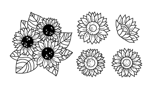Słoneczniki na białym tle kliparty kwiatowe elementy dekoracyjne linia dzikie kwiaty i liście elementy botaniczne