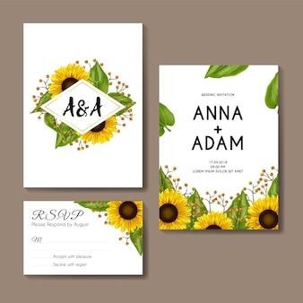 Słoneczniki ślub zaproszenie szablon projektu karty