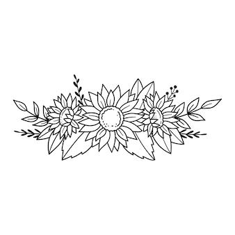 Słoneczniki zarys rysunek linia wektor ilustracja izolowany na białym tle