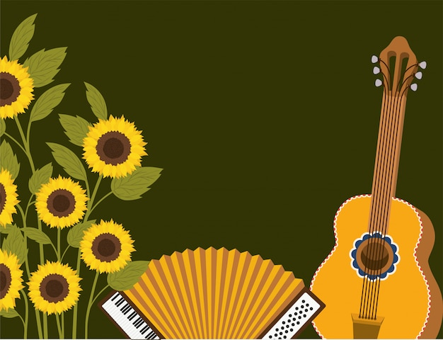 Słoneczniki ze sceną instrumentów muzycznych