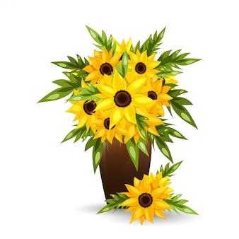 Słonecznikowi kwiaty w garnku.