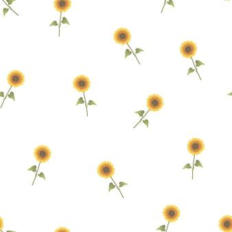 Słonecznikowy bezszwowy na białym tle