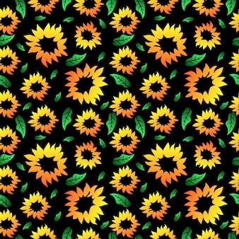Słonecznikowy wzór tła bez szwu