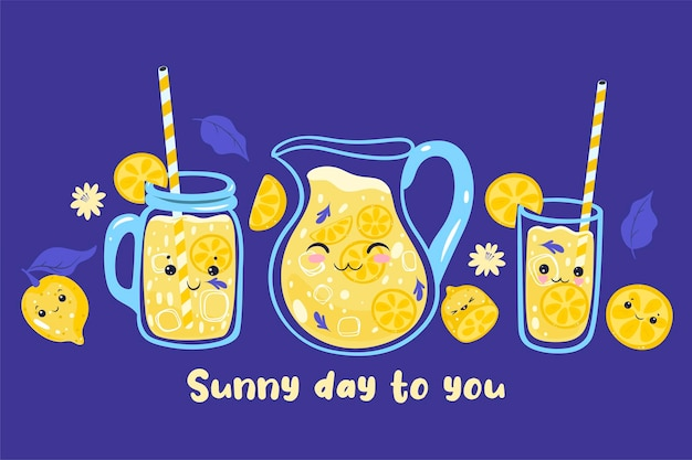 Słoneczny dzień dla ciebie pocztówka z lemoniadą kawaii