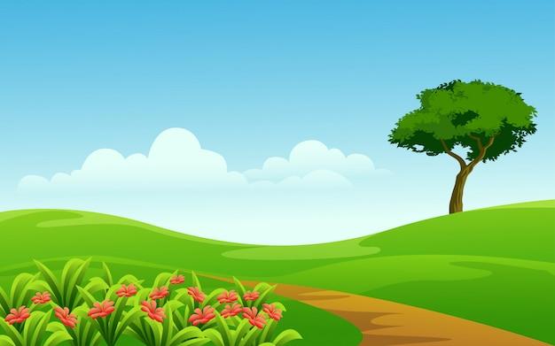 Słoneczny dzień na łące z drzewem i kwiatami
