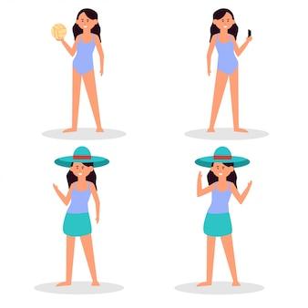 Słoneczny dzień na plaży. letnie zajęcia na plaży. sport i wypoczynek. chłopiec, dziewczyna, mężczyzna, kobieta, surfer, turyści.