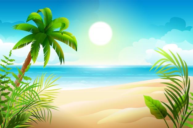 Słoneczny dzień na tropikalnej, piaszczystej plaży. palmy i wakacje w raju morskim