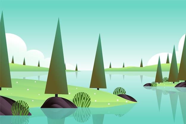 Słoneczny dzień z rzeką i drzewami w natury wiosny krajobrazie