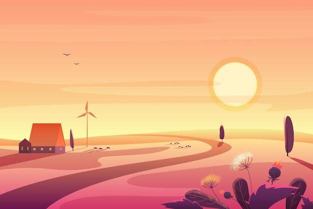Słoneczny wiejski krajobraz o zachodzie słońca ze wzgórzami, mały dom, ilustracja turbiny wiatrowej