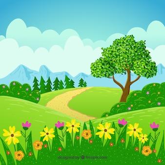Słoneczny wiosnę krajobraz