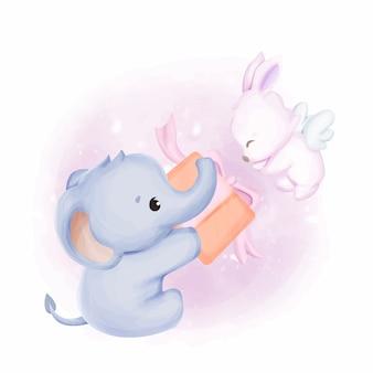 Słoniątka, prezent i królik