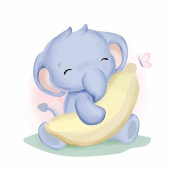 Słoniątko i jej banan