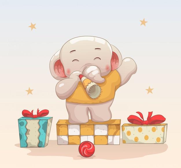 Słoniątko świętować boże narodzenie