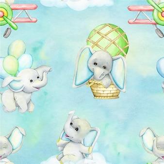 Słonie balony samolot chmury akwarela bezszwowe wzór w stylu kreskówki