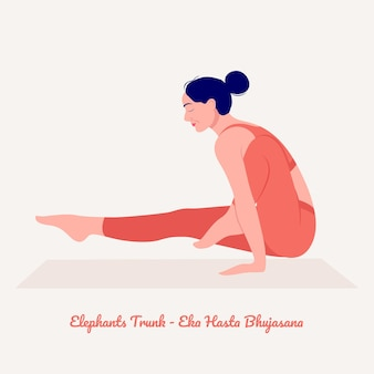 Słonie trunk joga poza młoda kobieta ćwicząca ćwiczenia jogi