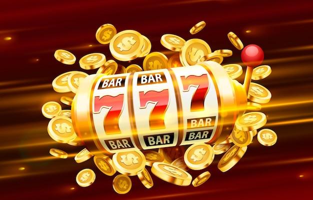 Sloty banner złote monety jackpot kasyno pokrywa automaty do gry anroulette z kartami