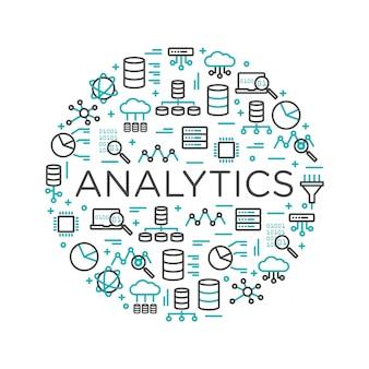 Słowa analytics otoczone ikonami