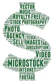 Słowa chmura koncepcja microstock, kształt dolara.