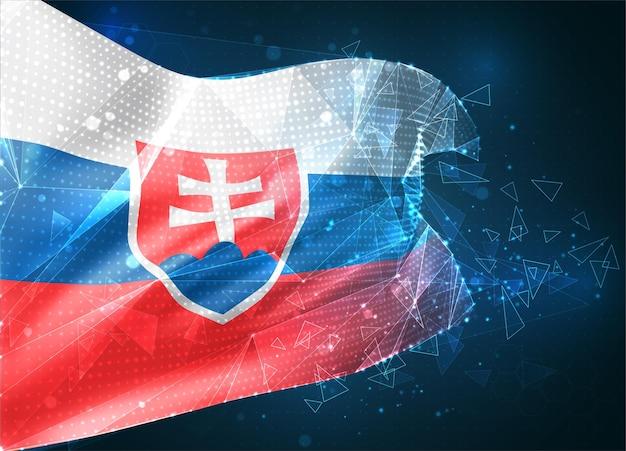 Słowacja wirtualny abstrakcyjny obiekt 3d z trójkątnych wielokątów na niebieskim tle