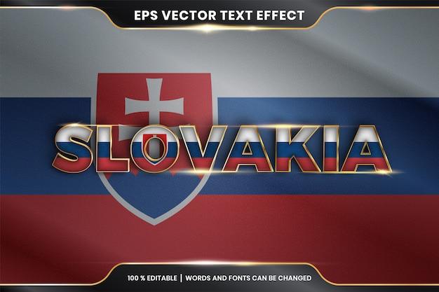 Słowacja z flagą narodową kraju, edytowalny styl efektu tekstu z koncepcją koloru złota