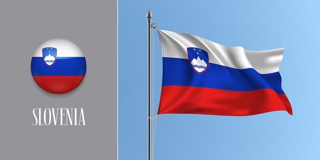 Słowenia macha flagą na masztem i okrągłą ikonę. realistyczne 3d czerwonej niebieskiej flagi słowenii i przycisku koło