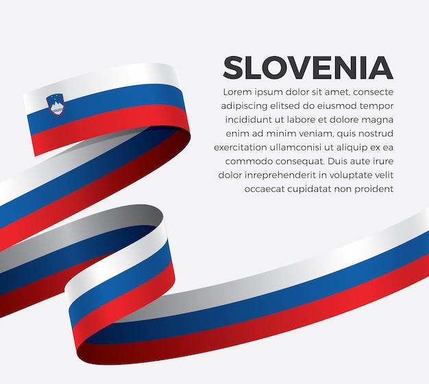 Słowenia wstążka flaga, ilustracja wektorowa na białym tle