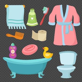 Słownictwo akcesoria łazienkowe kreskówka na przezroczystym tle