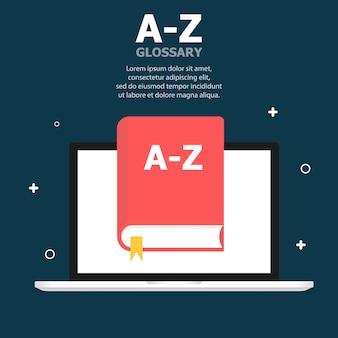 Słowniczek czerwonej książki az jest przedstawiony na szablonie ekranu laptopa