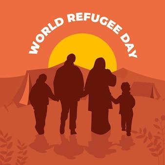 Słowo dzień sylwetki uchodźcy koncepcja