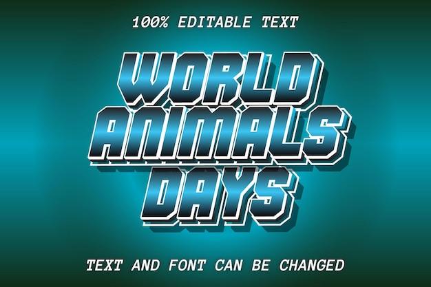 Słowo dzień zwierząt edytowalny efekt tekstowy styl retro
