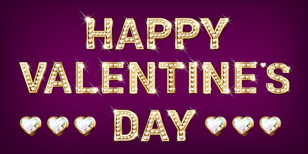 Słowo happy valentines day. złote litery w kształcie serca z błyszczącymi diamentami. baner walentynkowy ...