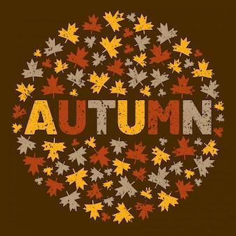 Słowo jesień otoczony liściem drzewa.