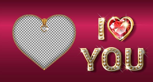Słowo kocham cię. złote litery w kształcie serca z błyszczącymi brylantami. walentynki