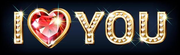 """Słowo """"kocham cię"""". złote litery w kształcie serca z błyszczącymi diamentami i dużym czerwonym rubinem. transparent walentynkowy"""