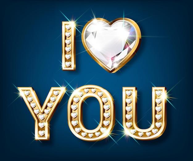 Słowo kocham cię. złote litery w kształcie serca z błyszczącymi diamentami. walentynki