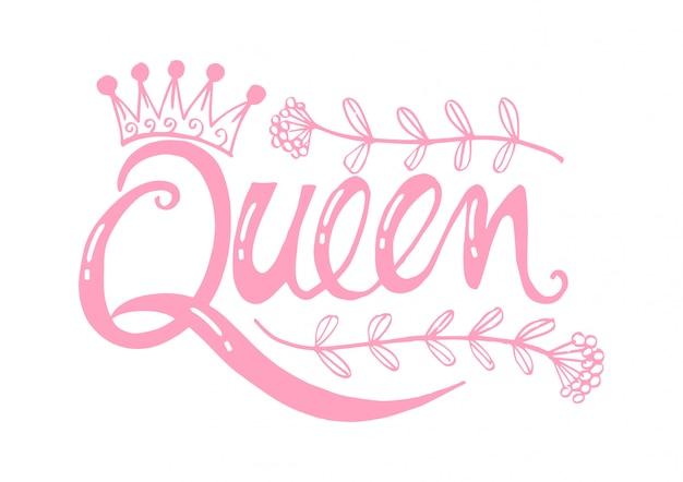 Słowo królowa z koroną.