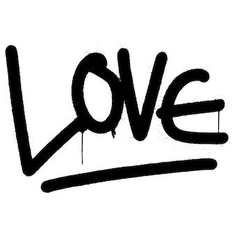 Słowo miłość graffiti spryskane na białym tle