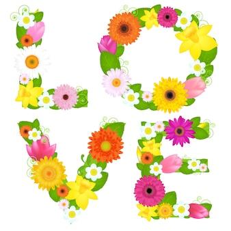Słowo miłość z kwiatów, na białym tle