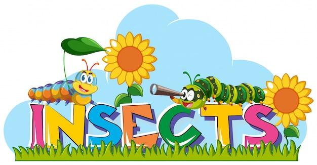 Słowo owady z gąsienic i słoneczniki w tle