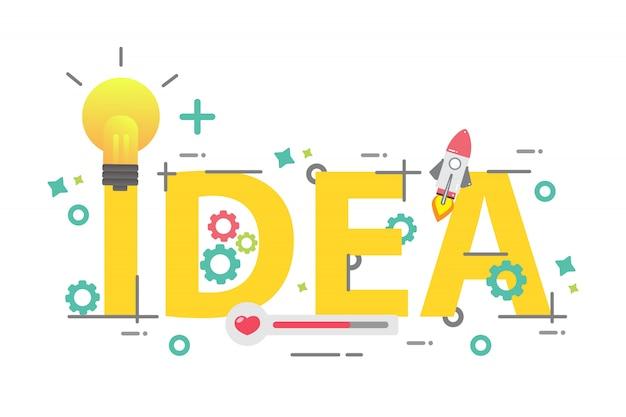 Słowo pomysł, koncepcja kreatywnego pomysłu, projekt kreatywny dla biznesu
